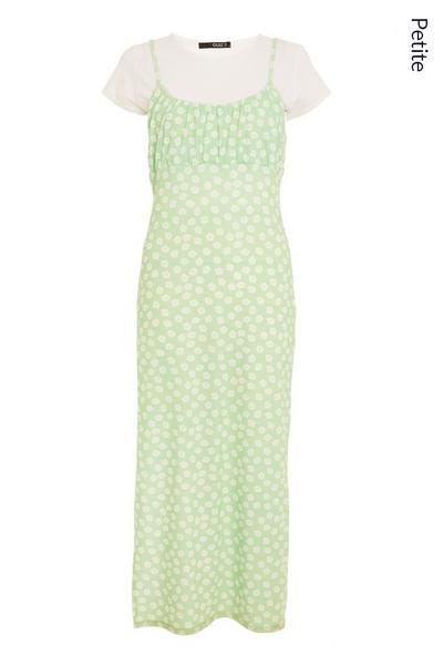 Petite Sage Floral Bodycon Midi Dress